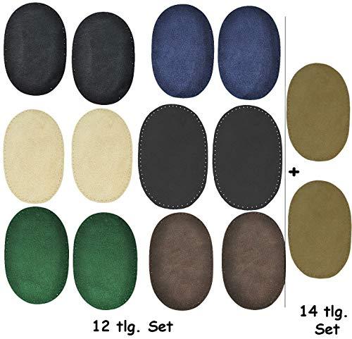 alles-meine.de GmbH 2 STK. Wildleder - echtes Leder - Flicken - schwarz - 10 cm * 15,5 cm - oval - zum Aufnähen Aufnäher / Applikation XL Format