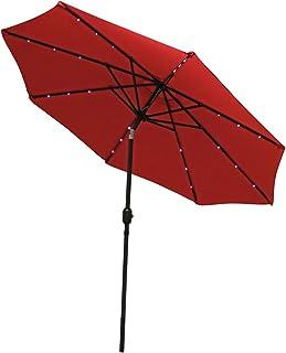 Sunnydaze Solar Outdoor Patio Umbrella with LED Lights, Tilt & Crank, Aluminum, 9 Foot, Red