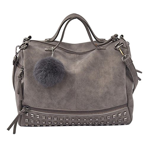 Huhu833 Damen Handtaschen, Frauen Niet Handtaschen große Taschen Schultaschen Schulter Beutel Reise Tasche (Grau)