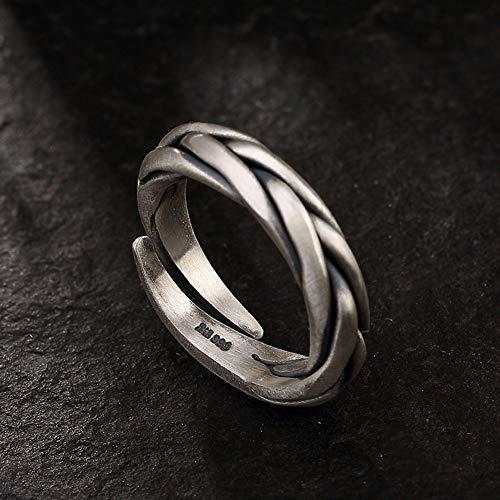 HSUMING 999 Silber Retro Matte Woven Twist Open Ring