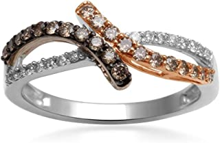 Mocha and White Diamond Ring in 10K Two Tone Gold - Y161763CH