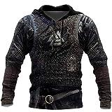 WLXW Vintage Odin Viking Armor Tattoo 3D Imprimé Hommes Hoodies, Harajuku Street Fashion Sweat Cosplay Costume Unisexe Veste Décontractée Zip Surdimensionné Pull À Capuche,Hoodie,XL