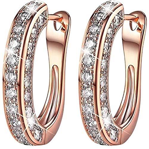 Gazaar Pendientes de aro chapados en oro para mujeres, niñas, pendientes de aro chapados en oro, diamantes de imitación de cristal incrustados