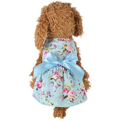 Storerine Haustier Hund Welpen Sommer Bodenbildung Fliege Hemd Kleid Kleidung Hemd Haustierhundekatze kleidet Streamerprinzessinkleid-Baumwollkleidung