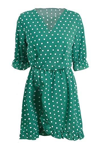 ZDSYYK Sexy V-Ausschnitt Rüschen Point Print Plissee Kleid Damen Kleid (Style1, M)