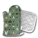 lymknumb Adopte Don't Shop Dog-Green Oven Mitt/Glove Agarradera Cuadrada, Almohadillas Calientes y Manoplas de algodón para Horno de microondas Resistentes al Calor