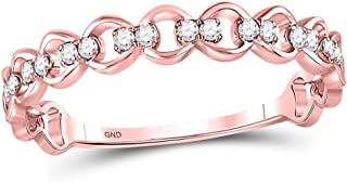 Mia Diamonds 10kt Rose Gold Womens Round Diamond Link Stackable Band Ring (.12cttw) (I2)- Available Sizes From - 5 to 9