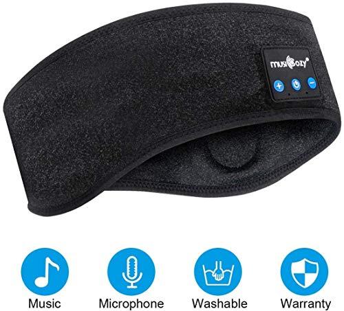 Schlafkopfhörer Bluetooth 5.2,Bluetooth Strinband Headband Schlafmaske,kabelloses Sportstirnband Musikstirnband Schweißband für Training, Joggen, Yoga, Schlaflosigkeit, Reisen (schwarz, gebogen)