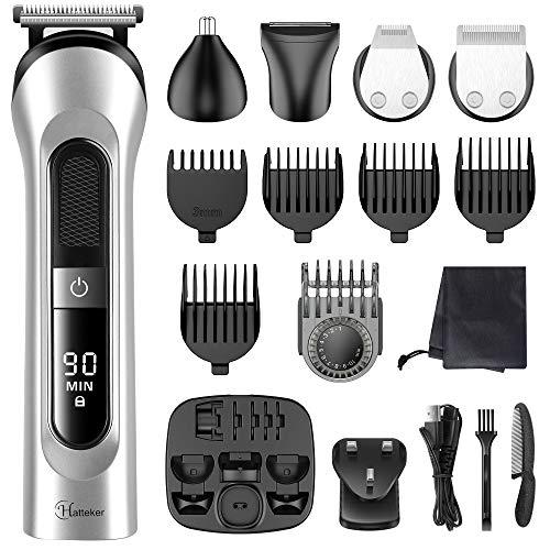Hatteker Beard Trimmer for Men Hair Clipper Cordless Mustache Nose Trimmer Body Groomer Hair Cutting Kit Precision Trimmer USB Rechargeable Waterproof 5 in 1
