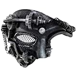 Steampunk Metal Cyborg Mesh Venetian Mask,Silver Masquerade Mask For Halloween Costume Party/Phantom Of The Opera/Mardi Gras Ball