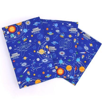シーツ&カバー3点セット 子供用 太陽系惑星とコスモプラネタリウム(スケアー地・ロイヤルブルー) N8808110