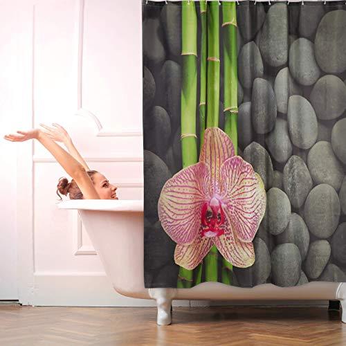 Relaxdays Duschvorhang Waschbar Anti-Schimmel Orchidee und Steine 12 Haken Badset 180x180cm Bunt