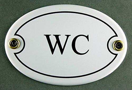 Buddel-Bini Emaille Türschild WC weiß oval 7x10 cm Schild Emailleschild Metallschild Blechschild KloTürschild ToilettenTürschild