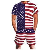 4 de julio de la bandera americana 2 piezas conjunto verano conjunto deporte conjunto de camiseta y pantalones cortos de la independencia