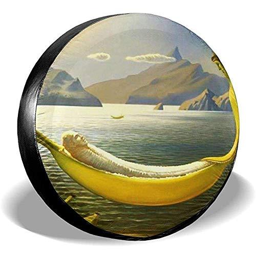 N/A Spare Tire Cover-Waterproof Universele Wiel Tire Cover Protector-Bananen Hangmat Grappige Illustratie Fit Voor Veel Voertuig