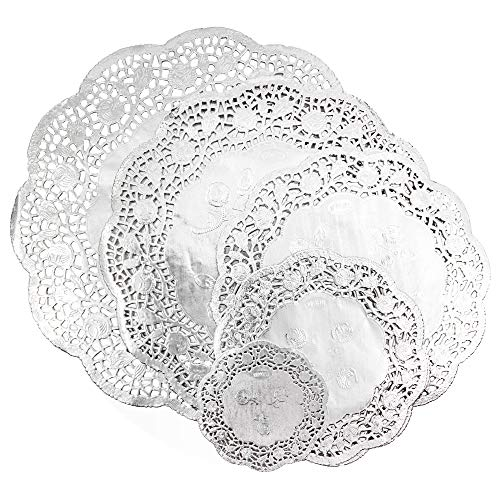 Juvale Paper Lace Metallic Doilies (5 Sizes, Silver, 60 Pack)