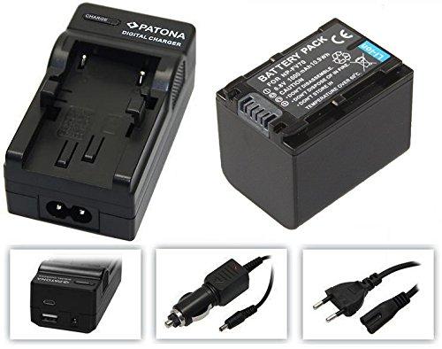2in1-SET für den Sony FDR-AX53 / AX53 Ultra HD Camcorder --- PREMIUM Akku für Sony NP-FV70 (1600mAh) + 4in1 Ladegerät (u.a. mit USB / micro-USB und Kfz/Auto) inkl. PATONA Displaypad