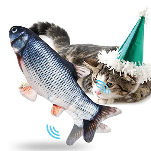 PECHTY Elektrisch Spielzeug Fisch,USB Katze Interaktive Spielzeug Simulation Plush Fisch,Elektrische Puppe Fisch Plüschtier für Katze zu Spielen, Beißen, Kauen und Treten(Schwarz)