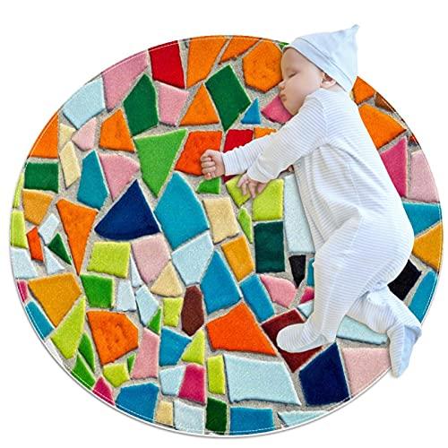 Alfombra Suave Redonda 80x80cm/31.5x31.5IN Alfombrillas Circulares Antideslizantes para el Suelo Alfombrilla para pie de Esponja Absorbente,Baldosas de cerámica