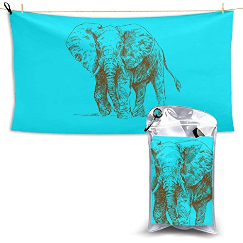 XCNGG Quick Dry Bath Towel, Absorbent Soft Beach Towels, Elephant Picture for Camping, Backpacking, Gym, Travelling, Swimming,Yoga 28.7'' X 51''
