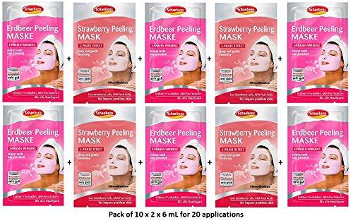 Schaebens Erdbeer Peeling Gesichtsmaske - mit hautfreundlichem Peeling, AHA, Erdbeer-Frischzellen und Kiwi-Extrakt - (10 x 2 Einheiten. 6 mL je Einheit - Für 20 Anwendungen) - Für alle Hauttypen
