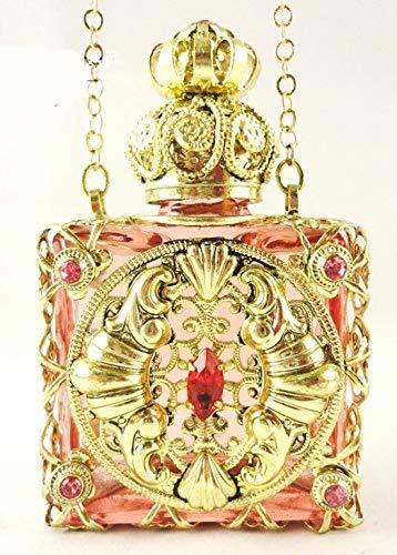 Mini Flacons Parfum de Luxe. Un Savoir Faire Artisanal de Plus de 150 ans. Verre rose très clair. Huile Essentielle, parfum, eau bénite. Filigrane métal doré. H 61mm. Vol 6 ml. H 61mm.
