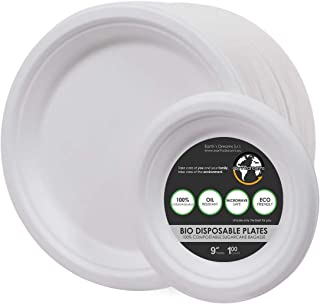 "Earth's Dreams Bio Sugarcane Disposable Plates 100-Count Pack, 9"" Bagasse Sugarcane Compostable Plates Plus Bonus 4-Count 6"" Plates (104 Pieces)"