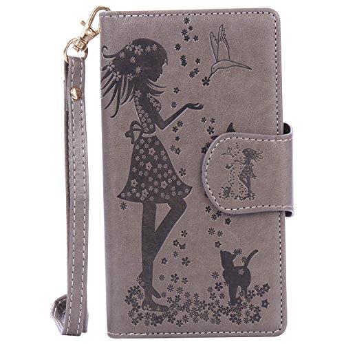 King phone Kompatibel für LG Nexus 5X Hülle Brieftasche Handyhülle Premium PU Leder Mädchen und Katze Design Cover Folio Schutzhülle mit Kartenfach Stand Brieftasche Klapphülle - Grau