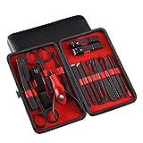 NailGlam 7-18 PCS Clippers de uñas Conjunto de manicura Set Pedicura Set Toenail Clippers Kit-rojo_18 sets