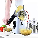 Rotary cheese grater, manual multi-function cutter, with 3 stainless steel blades/grater/very suitable for potato grater, vegetable slicer, cheese grinder (white)