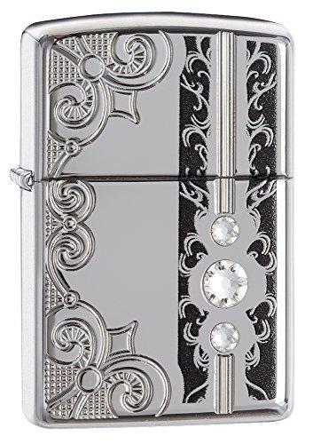 Zippo Glitz Design Benzinfeuerzeug, Messing, Edelstahloptik, 1 x 6 x 6 cm