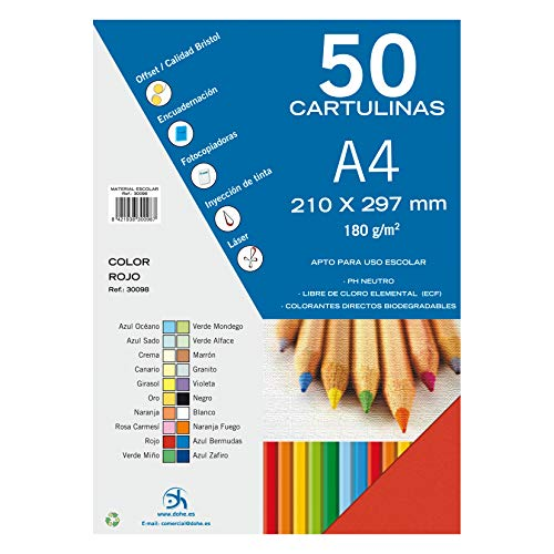 Dohe 30098 - Pack de 50 cartulinas, A4, color rojo