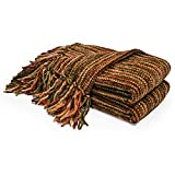 Thick Fluffy Chenille Knitted Throw Blanket with Decorative Fringe and Striped for Couch Cover Sofa Chair Bed Gift Multi