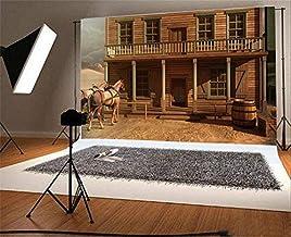 Baocicco 7x5ft Western Cowboy Saloon Backdrop House Horse Carriage Backdrop Vinyl Photography Background America West Deso...
