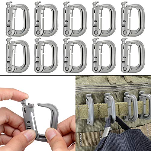 BOOSTEADY 10 Stück vielseitig verwendbar D-Ring Karabiner Grimloc Locking für Molle Gurtband mit Rucksäcke und Taschen