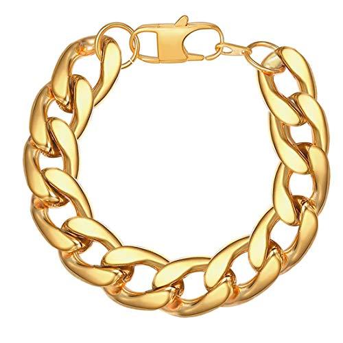Pulseira de corrente de pulso masculina U7 Jewelry de aço inoxidável banhado a ouro grosso forte corrente pulseira para homens mulheres, presente de marido, escolha de largura 12/15 mm, comprimento 8-9 polegadas, com caixa de presente