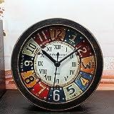 レトロ懐旧目覚まし時計 デスクトップアナログクロック スヌーズアラーム付き アナログ表示 丸型 (ブラック)