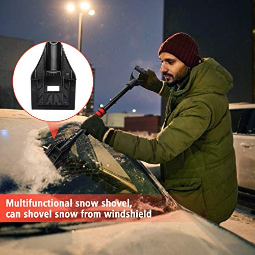 Tvird Schneeschaufel Schneeschieber Schneeräumer Schneeschippe Schneeschaufel mit D-Grip-Griff Reflektierender Streifen,rutschfest Teleskop-Stiel, ideal für Einfahrten Notfälle(Aluminium-Stiel) - 4