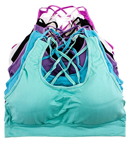 Barbra's 6 Pack Wirefree Double Strap Crossback Yoga Bras with Removable Pads