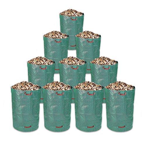 Schramm® 10 Stück Gartensäcke 300L Grün Robusten Polypropylen Gewebe PP Laubabfall Gartensack Garten Sack Säcke Big Bag 10er Pack