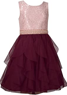 dc516daacd9 Bonnie Jean Sleeveless Dress with Ivory Bodice and Tiered Burgundy Chiffon  Layered Skirt
