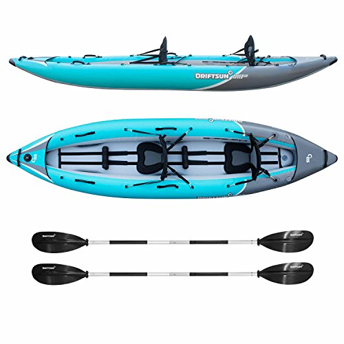 Driftsun Rover 220 Inflatable Tandem Kayak Inflatable White-Water Kayak with High Pressure Floor and EVA Padded Seats, High Back Support, Action Cam Mount, Aluminum Paddles, and Pump