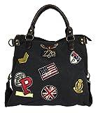 fashion&DU PATCHES STERN Handtasche Schultertasche bag Umhängetasche Tragetasche US star groß (Schwarz_USA)