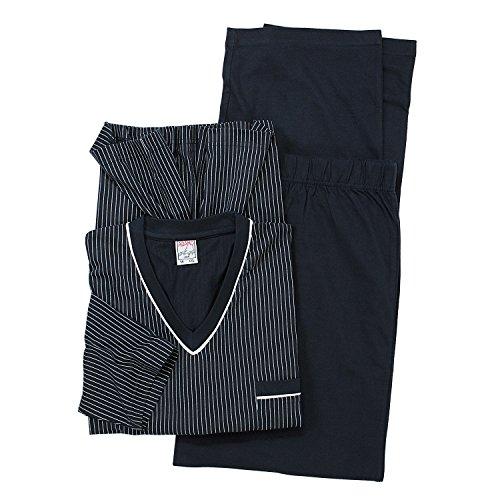 ADAMO Übergrößen Langarm Pyjama in dunkelblau 10XL, Größe:3XL
