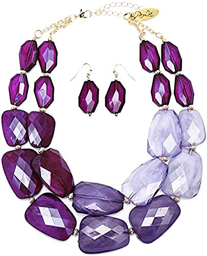 Multi Purple Lilac Violet Lavender Amethyst Colored Resin Big Chunky Statement Necklace