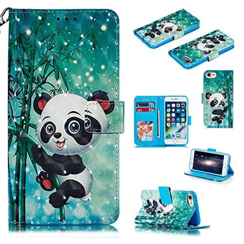Apple iPhone 6 / iPhone 6s Hülle,THRION PU Brieftaschenetui 3D mit magnetischer Handschlaufe und Ständerhalterung für Apple iPhone 6 / iPhone 6s, Panda