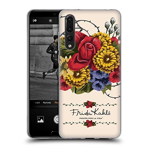 Official Frida Kahlo Vine Red Florals Soft Gel Case Compatible for Huawei P20 Pro