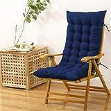 Cloth Fusion Cloudy Throne Microfiber Rocking Chair Long Cushion Seat Pad - (51x19 Inches/Navy)
