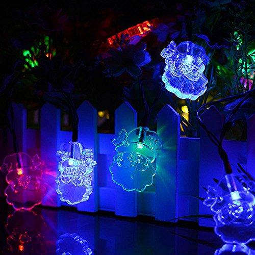 DeHolifer Solar-Weihnachtsmann-Lampenschnur, 20 LED-Mehrfarbenlichter für Haustür, Yard, Garage, Partei, Einkaufszentrum, Schaufenster, Feiertag, Inneneinrichtung