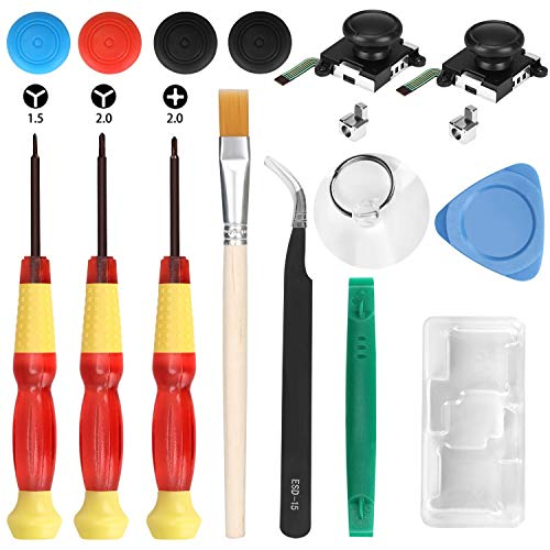 Veperain 2 Pack of 3D Analog Joystick Replacement for Nintendo Switch Joy Con Controller, with Cross & Tri-Wing Screwdrivers, Repair Tool Kits for Nintendo Switch,4 Extra Thumbstick Caps